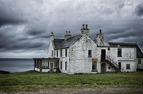 casa, Mar, Costa, Escòcia, llocs perduts, deixar, edifici