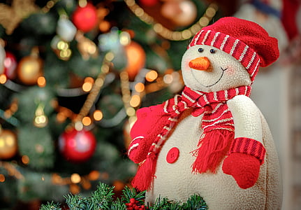 toy, snowman, christmas tree, new year's eve, christmas, decoration, red