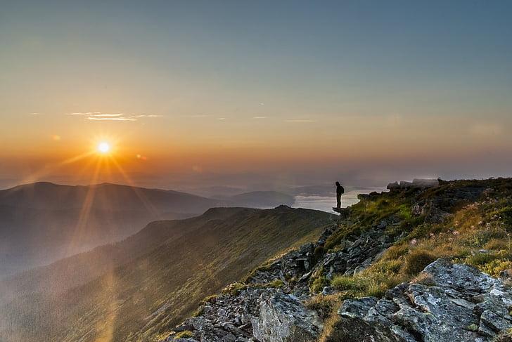 bergen, soluppgång, Beskids, Babia topp, solen, mannen, solen