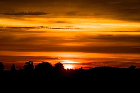solnedgång, nedgående solen, solen, kvällshimmel, abendstimmung, kvällen, Afterglow