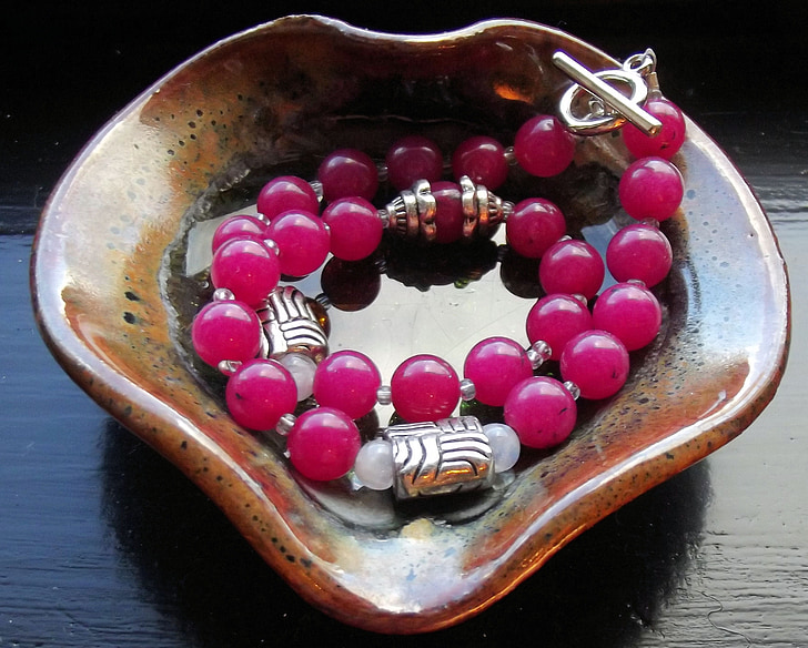 gemstones, dyed jade, hot pink, silver over copper, toggle clasp, bracelet, dog collar