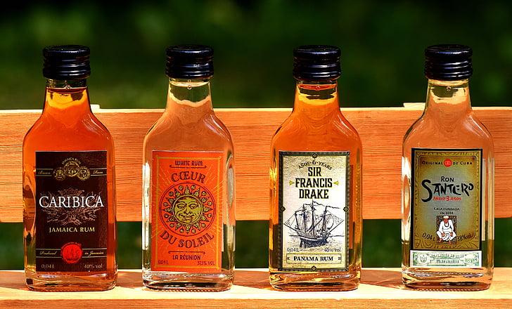 rum, álcool, garrafas, origem diferente, bebida alcoólica, bebida, ainda vida