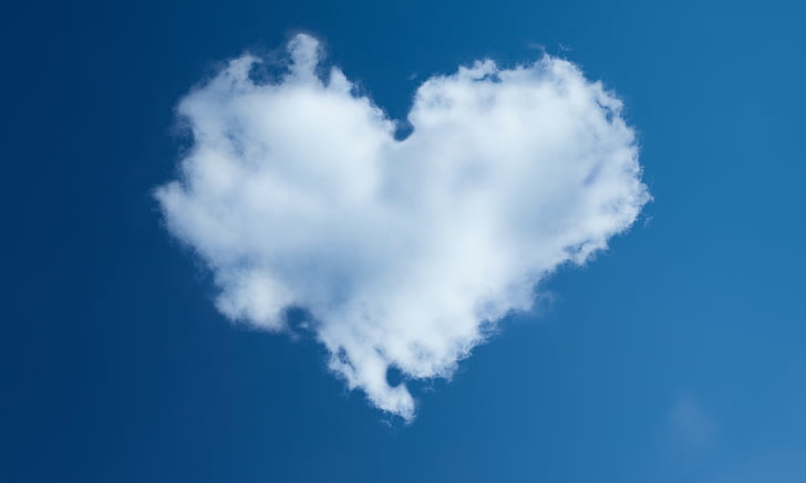 heart, sky, dahl, blue sky, cloud - sky, blue, smoke - physical structure