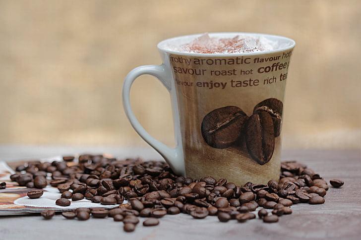 cafè, grans de cafè, tassa de cafè, beguda, plaer
