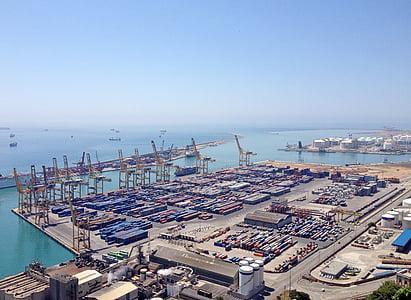 Barcelona, hamn, Frakt harbor, Spanien, havet, Katalonien, Medelhavet