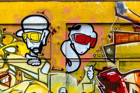 perkotaan, seni perkotaan, seni jalanan, dinding dicat, Graffitti, kuning