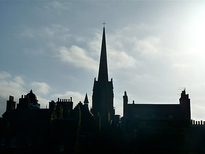 skyline, church, dusk, buildings, tall, silhouette, silhouettes