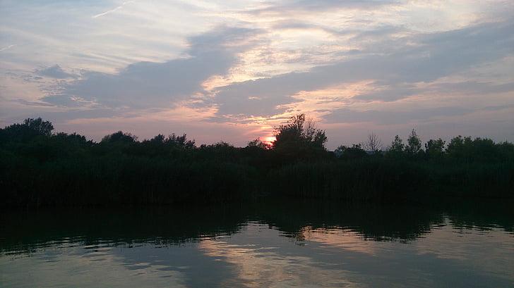 Закат, озеро, abendstimmung, Природа