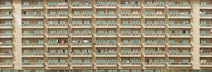 apartaments, balcons, edifici, ciutat, ciutat-desafiament, paisatge urbà, Dubai