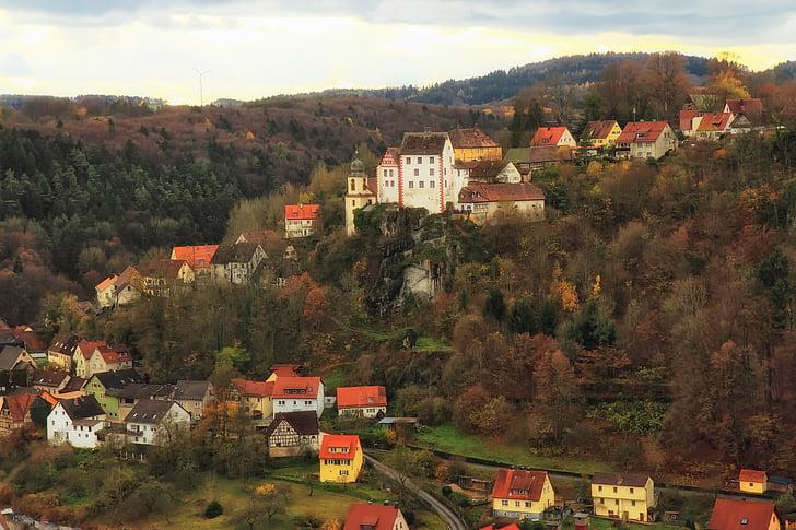 egloffstein, Německo, město, hory, krajina, malebný, Příroda