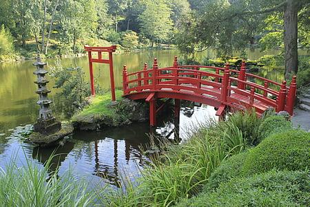jardin, pont, jardin japonais, pont rouge, France, Mare, eau