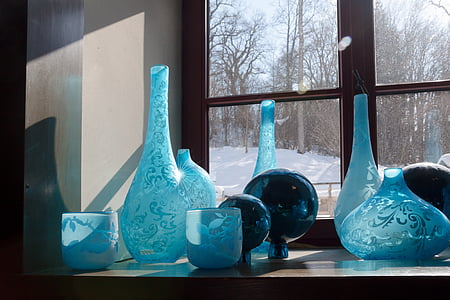 briller, blå, dekoration, refleksion, vindue, glas, vaser