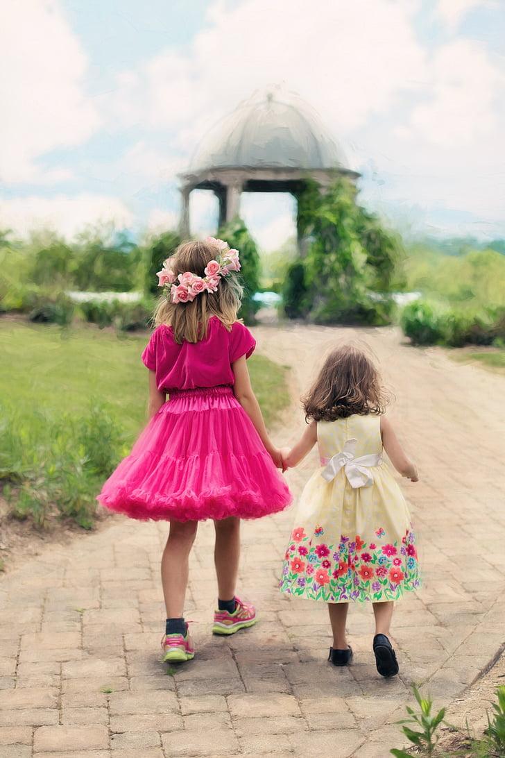 little girls walking, summer, outdoors, pretty, girls, childhood, child