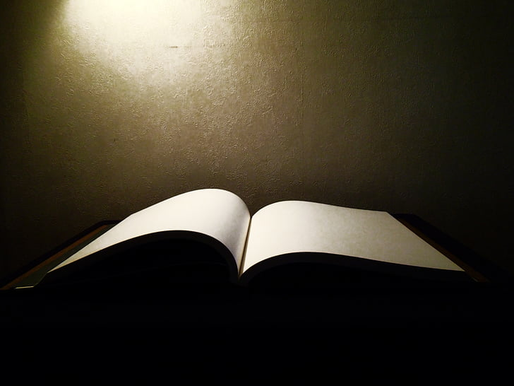 libro, pagina, aprire, libro aperto, pagina vuota, libro magico, luce