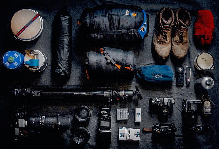 phong cách sống, đi du lịch, thiết bị, máy ảnh, Kit, ống kính, giá đỡ ba chân