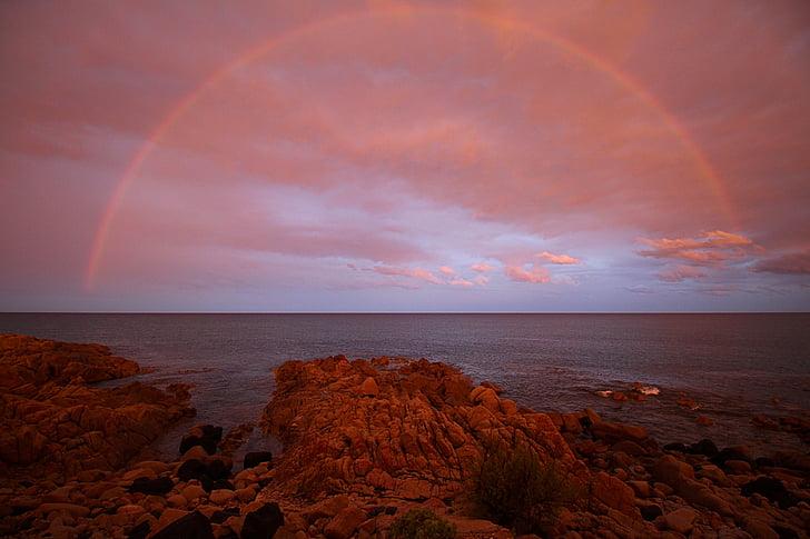 레인 보우, abendstimmung, 붉은 하늘, 사르데냐, 바다, 스카이, 비치