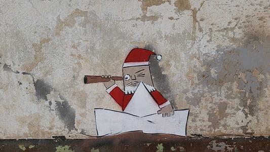 grafiti, Santa claus, dinding, lukisan, memuaskan, cat, Desain