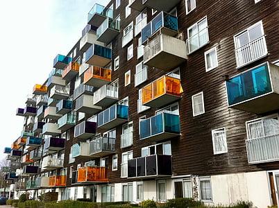 Amsterdam, rumah, simetri, kondominium, balkon, arsitektur, Apartemen