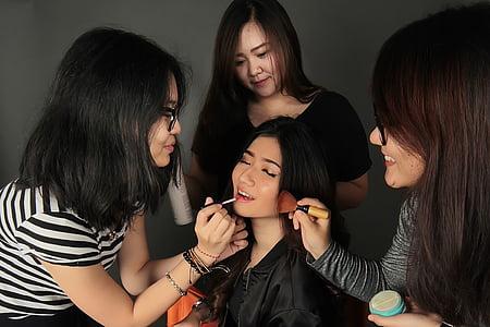 make-upu, Děvče, Studio, obličej, mladý, model, kůže