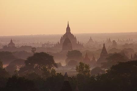 Myanmar, Burma, templet, Bagan, soluppgång, templet nivå, religion