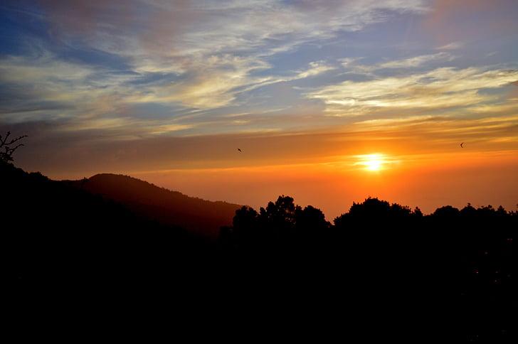solnedgång, gyllene, ljus, natursköna, Visa, naturen, skymning