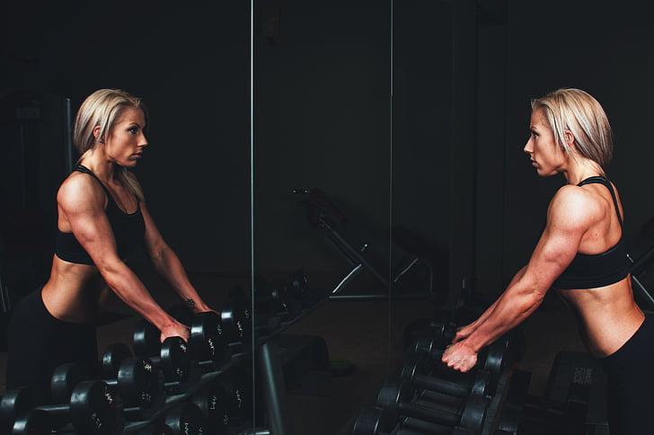 brun, håret, kvinne, løfte, vekt, Fitness, muskler