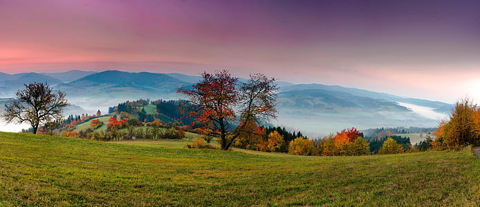 panorama, landscape, nature, view, heaven, dawn, sunrise