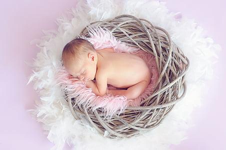 bébé, bébé qui dort, bébé fille, enfant, nouveau-né, mignon, petit
