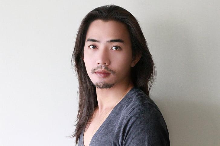 face, long hair, male model