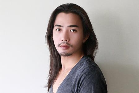 cara, cabells llargs, model masculí