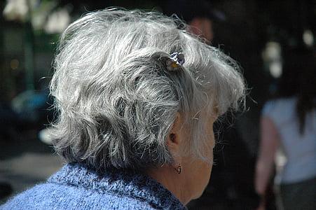 woman, senior, citizens, female, head, hair, gray