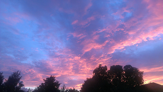 พระอาทิตย์ตก, เมฆ, ท้องฟ้า, ระบบคลาวด์, ท้องฟ้า, สีฟ้า