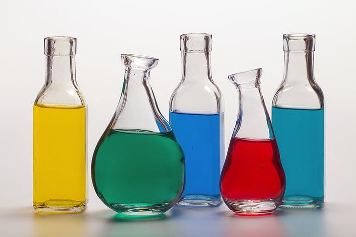 flaskor, färgglada, färger, färgglada, färger, vatten, vätska
