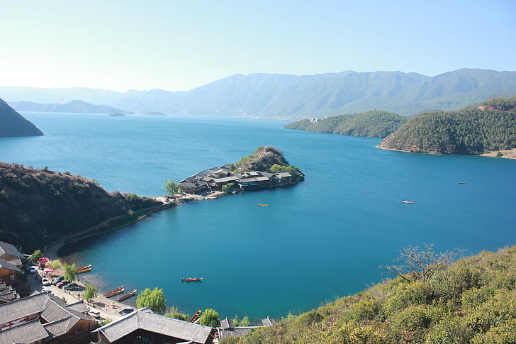 lijiang, lugu lake, the scenery, landscape, lake, island