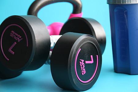 salle de gym, remise en forme, haltère, exercice de, sport, poids, Force