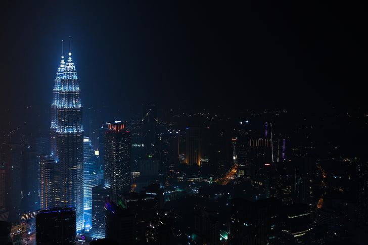 edificis, ciutat, llums de la ciutat, paisatge urbà, il·luminat, nit, horitzó