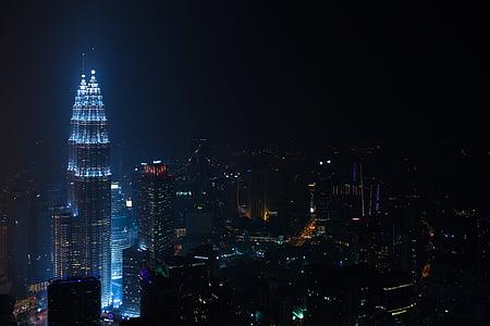 buildings, city, city lights, cityscape, illuminated, night, skyline