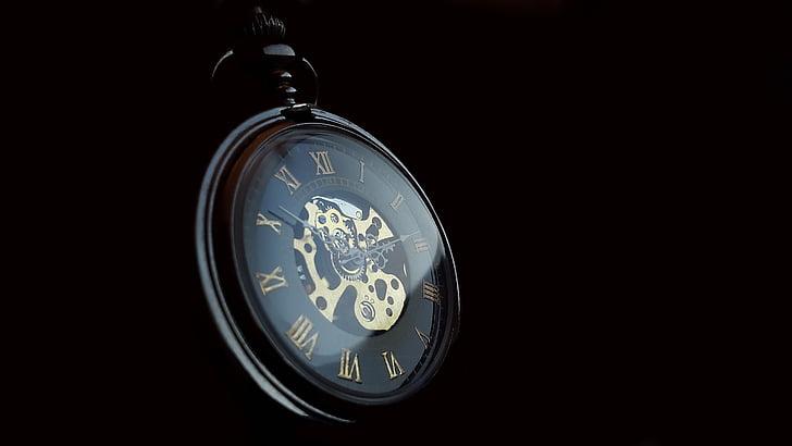 reloj de bolsillo, reloj, tiempo, antiguo, nostalgia, puntero de, antiguo