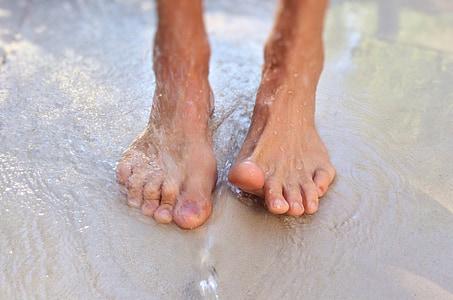 peus, descalç, fora, mullat, platja, peu humà, l'aigua