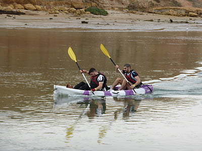 canoeing, paddlers, kayaking, sport, active, action, together