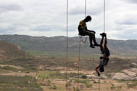 climb, abseil, rock, climber, rope, secure, climbing rope