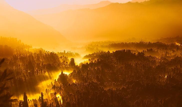 nascer do sol, manhã, luz do sol, Indonésia, montanhas, silhuetas, paisagem