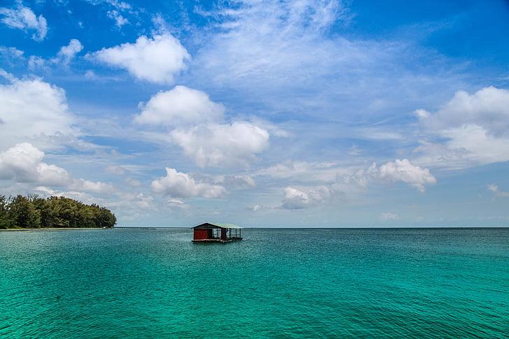 Phu quoc, illa, Viet nam, oceà, flotant, casa, cabina