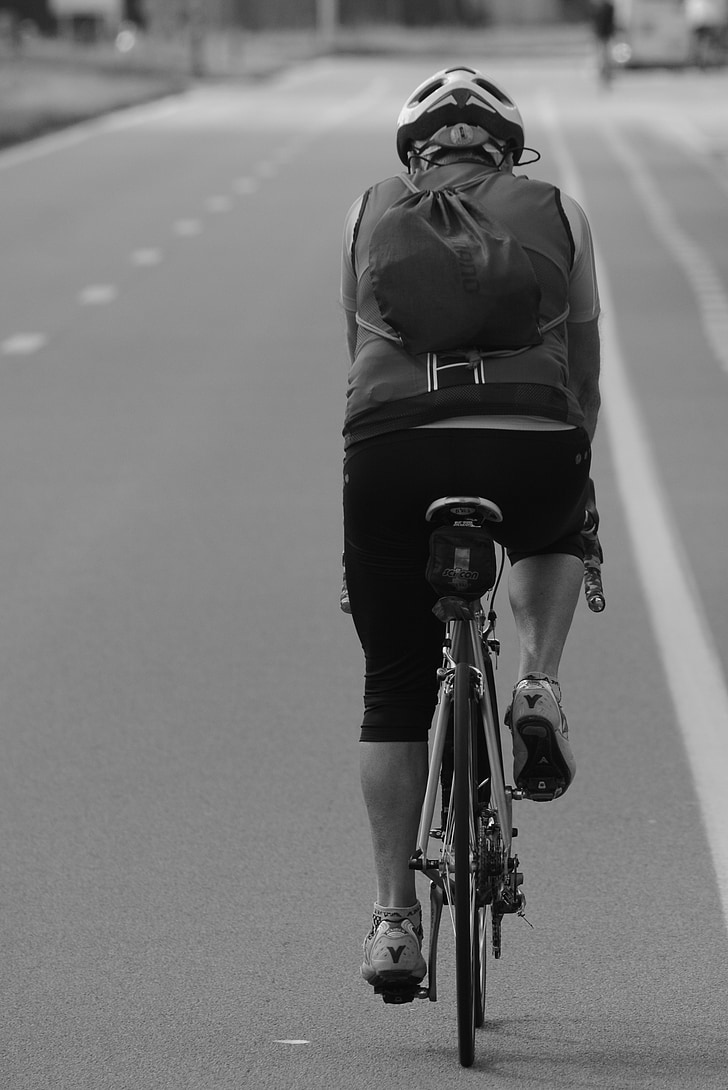 cyclist, man, backpack, sports, street, rates, professional road bicycle racer
