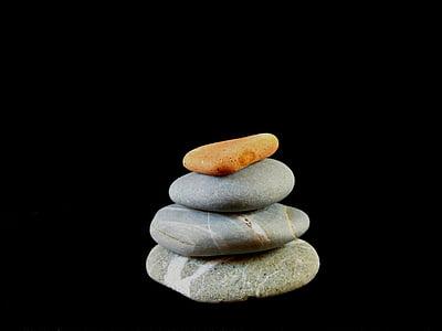 Zen, balanse, ro, steiner, natur, småstein, naturlig