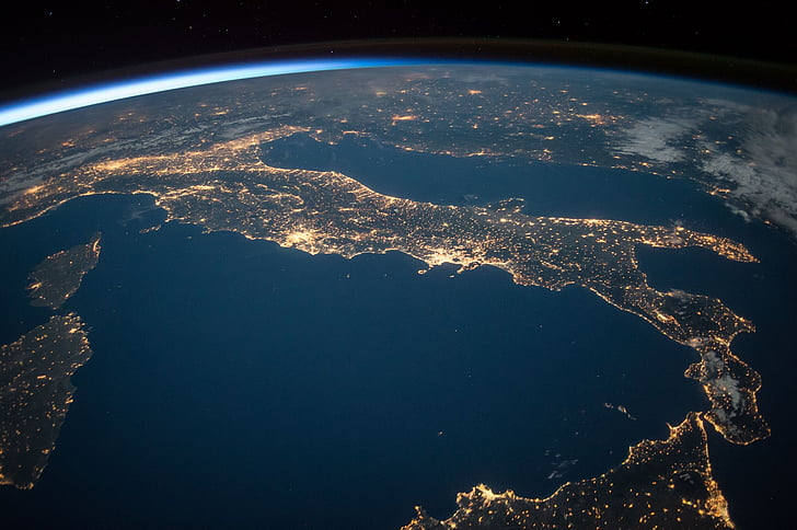 international space station, view, space, night, earth, italy, mediterranean