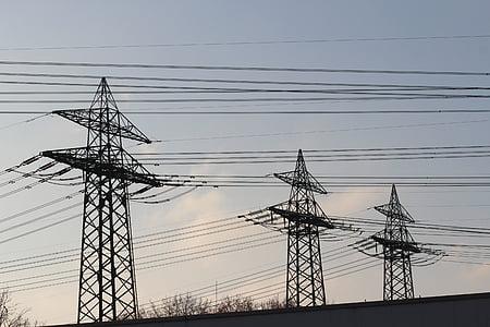 strommast, current, electricity, high voltage, pylon, power line, line