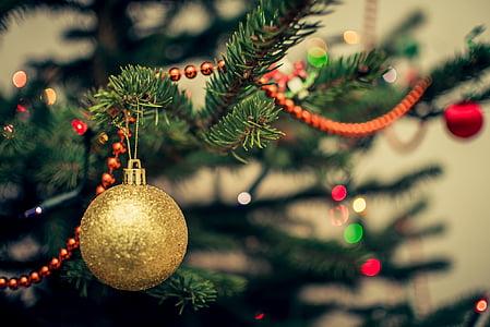 palla, sfocatura, bokeh, celebrazione, Natale, Close-up, decorazione