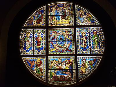 Vitrall, Art, Catedral, vidre, roseta, Toscana, l'església