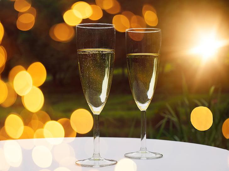šampanja, prillid, jook, alkoholi, Bokeh, meeleolu, Prost Grand Prix
